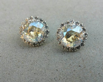 Swarovski Crystal and Rhinestone Earring, Silver Setting