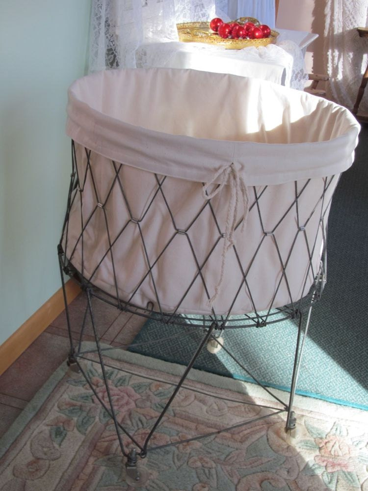 French Laundry Wire Hamper Liner Natural Twill Smooth