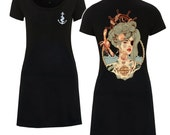 WOMENS Mermaid Dress, Nautical, Little Black T-Shirt Dress, S/M/L/XL