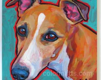 WHIPPET Dog Original Portrait Art Painting on Panel 6x6 by Lynn Culp