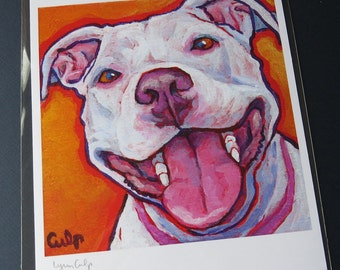 Smiling White PITTIE Pit Bull 8x10 Signed Dog Art Print by Lynn Culp