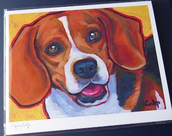 BEAGLE Dog 8x10 Signed Art Print from Painting by Lynn Culp