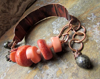 Coraline - Fold-Formed Copper and Coral Bracelet with Pyrite and Rhinestones
