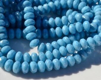 Light Blue Denim 8x6mm Faceted Rondelle Czech Glass Beads  25