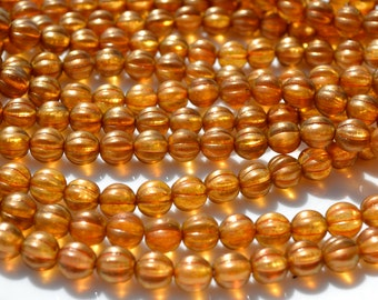 Sandalwood 8mm Czech Glass Melon Beads  25