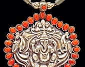 Fine Sterling Ganesha, Peacocks & Coral