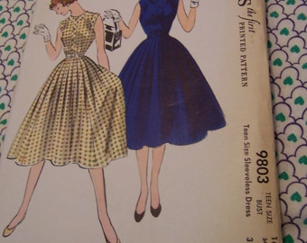 1954 mccall's sleeveless dress pattern