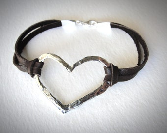 Leather Heart Bracelet Sterling Silver Heart Leather Bracelet Heart Love Bracelet Ready to ship boho jewelry gift for her festival