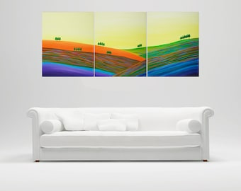 """Art Painting Acrylic Landscape Painting wall decor wall art home Office canvas art wall hangings """"Autumn Hills"""" by qiqigallery"""