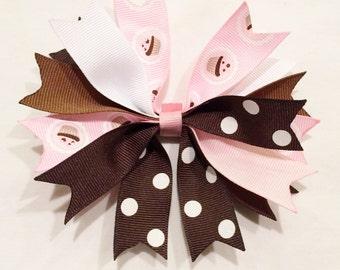 Cupcake Hair Bow Pink And Brown Bow Polka Dot Bow Pink Hair Bow Brown Hair Bow Barrettes And Clips