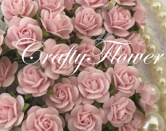 50 Soft Pink Small Mulberry Paper Flowers Baskets Scrapbooks Wedding Miniatures Faux Cupcake Cards Dolls Crafts Roses 2/zR8