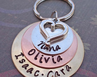 Nana Love Stacked Keychain - Personalized Names Hand Stamped Keychain- Grandma Mom Keychain- K67