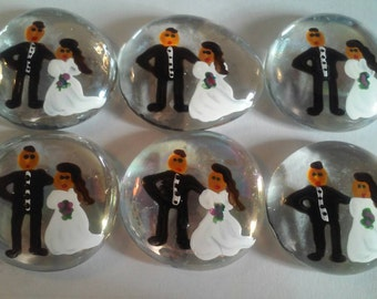 Hand painted large glass gems party favors mini art bride and groom weddings