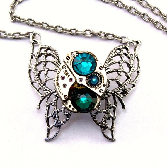 Steampunk Necklace - Gorgeous Clockwork Crystal Butterfly Design - Aqua, Montana Blue & Emerald Green - Promptly Shipped Steampunk Jewelry
