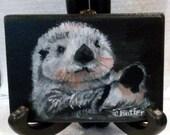 "Otter ""chillin' out"" ACEO magnet. black, white, small tripod,aquatic mammal,river otter,small animal portrait"