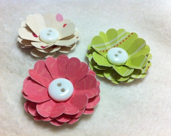 Handmade Paper Flowers...3 Piece Set of Sweet and Sassy Scallop Flowers With Button Scrapbook Paper Flowers