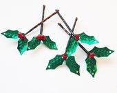 Holly Hair Pins - set of 5 Swarovski Crystal Sequin - Christmas Hair Accessory - Winter Wedding