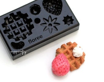 mini waffle mold for creating miniature clay sweets / top quality Floree all-in-one mold from Japan / diy clay miniatures
