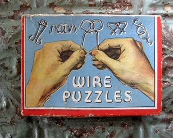 Vintage Wire Puzzles in Box, Great Graphics
