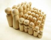 3 Wood Peg Dolls - Groom, Bride, Baby - Wedding Cake Topper - Unfinished Wooden Peg Dolls