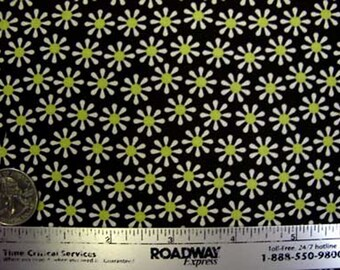 5.00/yd SALE Michael Miller DAISY FLOWERS Yellow Brown Quilt Fabric - by the Yard - Small Scale Design Out of Print