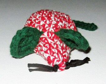 Red, Green & White Crocheted Catnip Mouse for Only the Most Discriminating Kitties - 100% Cotton and Catnip