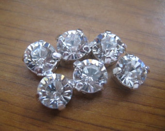 Lot of 6 8mm Crystal Article 1012 Swarovski Chaton cut rhinestones in Silver Plated Sew On settings