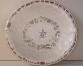 "Unique, Vintage Broken China, Ceramic Shards Cottage Chic Wood Bowl, ""Eggshell Nautilus"" Pattern"
