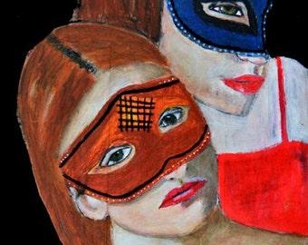 Women Portrait Painting Print. Masquerade Masks Digital Print. Halloween Decor. Gothic Decor. Wall Art Hanging. Halloween Wall Print.