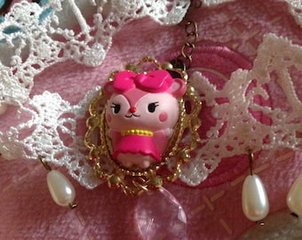 Sanrio Pink Bear Cameo White Lace Pearl Choker Necklace