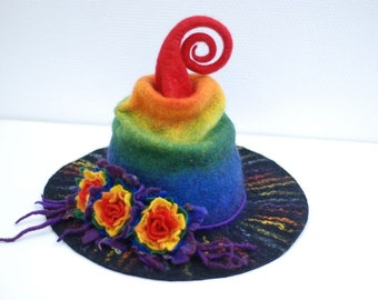 Witch wizard hat with flowers felted from wool colorful rainbow Halloween costume CUSTOM MADE choose your own colors