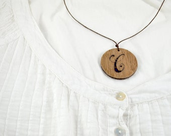 Wood Burned Personalized Initial Necklace / Wooden Monogram Mint Felt Letter / Personalized Jewelry / Custom Initial Letter Necklace