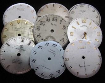 Vintage Antique Watch Dials Steampunk  Faces Parts A 11