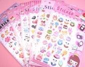 KAWAII 3D Desserts Stickers Pocky Bows Cake Pretzels Jelly Beans Cute Decorating Scrapbook Supplies