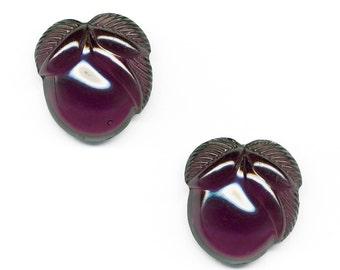 Vintage Fruit Cabochons 20mm Translucent Purple Glass