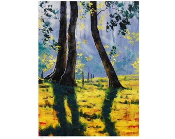 FOREST PAINTING Contemporary Landscape Trees Painting signed oil by G.Gercken