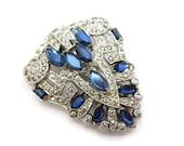 Art Deco Dress Clip - Rhinestone Vintage Sapphire Blue