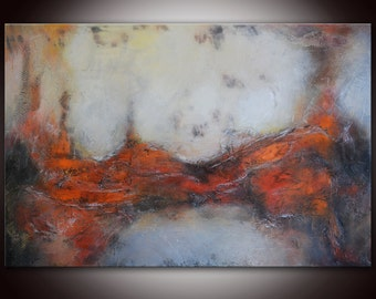 Large Abstract Red Gray Painting,Abstract Painting,Mixed Media,Red Grey Painting,Textural Painting,Abstract Art,High End Unique Painting
