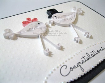 Paper Quilled Wedding Love Birds Card