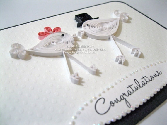 Paper Quilled Wedding Love Birds Card