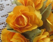 12 Open Paper Millinery Roses In Marigold Yellow