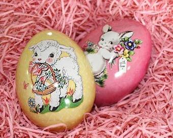 England Metal Easter Egg Box Yellow Lamb 2 3/4 Inch Nostalgic Craft Storage  TEG 28