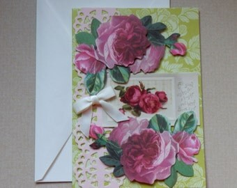 Handmade BIRTHDAY CARD Made with Anna Griffin Design and Supplies  Vintage Look  Roses Embellished Dimentional Ribbon