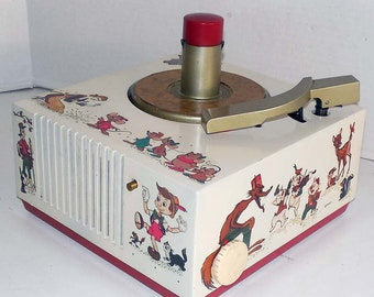 9EY33 Disney 45rpm Record Player by RCA Restored W Warranty - Disney characters