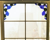 Stained Glass Morning Glory Corners in Blue