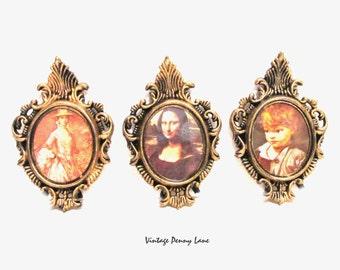 Vintage Portrait Print Art,  Miniature Fancy Frames