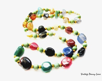 Vintage Beaded Necklace, Polished Gemstone Beads