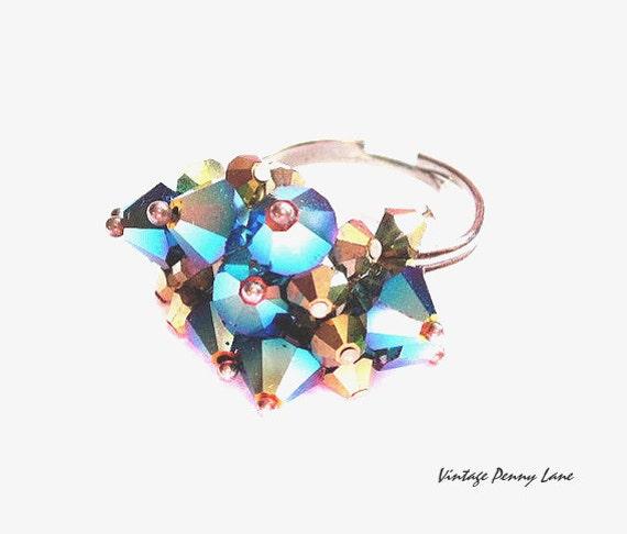 Beaded Costume Ring, Aurora Borealis Crystal