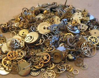 GEARS and Pieces Huge Lot 30 Grams Vintage and New Old Stock STEAMPUNK Watch Parts Steam Punk