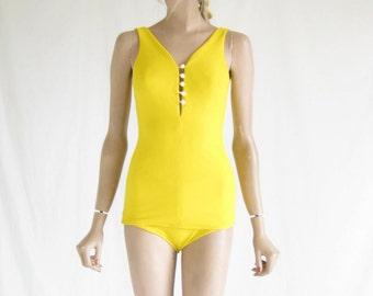 Vintage 60s Yellow Mod Bombshell Swimsuit.